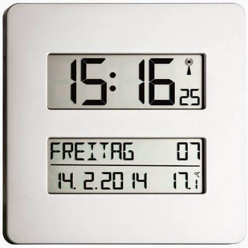 Digitale Wanduhr mit Thermometer und Wochentagsanzeige