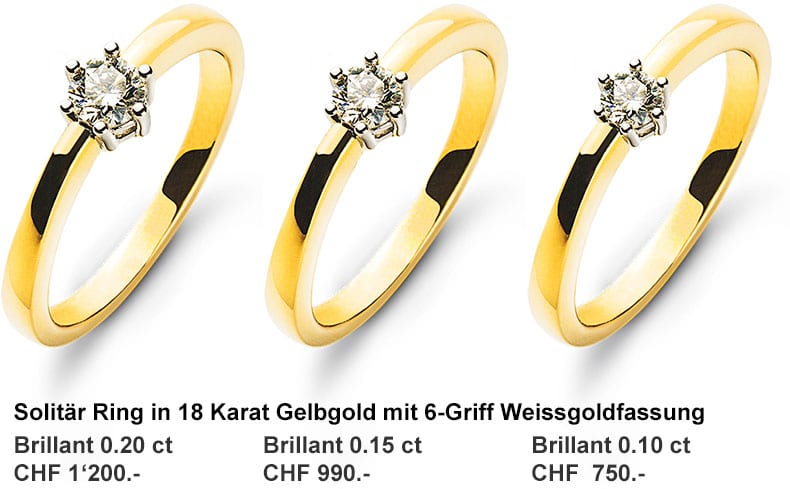 Wassner Solitär Goldringe